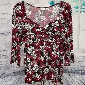 🌹CATO Pretty Floral Tunic Ties in Back, 14-16W